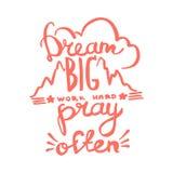 Grote de droom, werkt hard, bidt vaak de kalligrafie van het handschriftmonogram De gegraveerde vector van de inktkunst vector illustratie