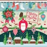 Grote de elementeninzameling van Kerstmis Stock Afbeeldingen