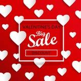 Grote de verkoopachtergrond van de valentijnskaartendag, vector Royalty-vrije Stock Afbeelding