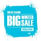 Grote de winterverkoop Eind van de banner van de seizoenspeciale aanbieding met de achtergrond van de borstelslag Stock Fotografie
