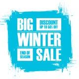 Grote de winterverkoop Eind van de banner van de seizoenspeciale aanbieding met de achtergrond van de borstelslag Royalty-vrije Stock Fotografie