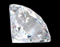 Grote diamant met fonkelingen over zwarte achtergrond Royalty-vrije Stock Foto's