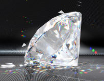 Grote diamant met gestreepte bezinning Royalty-vrije Stock Foto's