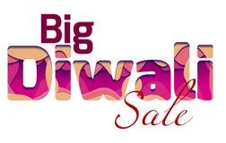 Grote die Diwali-verkoop met 3d inschrijving van het festival Diwali, van lagen van document wordt gemaakt Royalty-vrije Illustratie