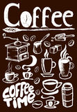 Grote die koffie op bruine achtergrond wordt geplaatst royalty-vrije illustratie