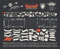 Grote die objecten symbolen voor al ontwerp worden geplaatst vector illustratie