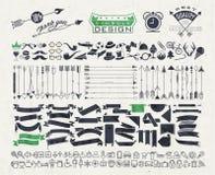 Grote die objecten symbolen voor al ontwerp worden geplaatst stock illustratie