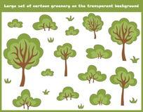 Grote die reeks van beeldverhaalbomen, struiken en gras op de transparante achtergrond worden geïsoleerd royalty-vrije illustratie
