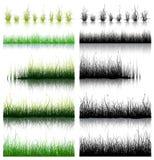 Grote die Reeks van Gras op witte achtergrond wordt geïsoleerd Royalty-vrije Stock Foto's
