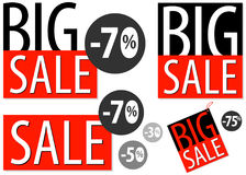 Grote die van de het uithangbordreclame van verkoopkortingen de affichepictogrammen met cijfers worden geplaatst Vector illustrat Stock Foto