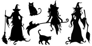Grote die vector met zwarte silhouetten van heksen en katten wordt geplaatst stock fotografie