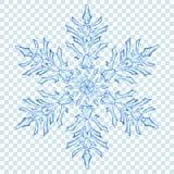Grote doorzichtige Kerstmissneeuwvlok Stock Afbeeldingen