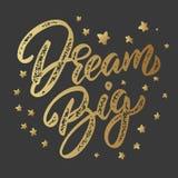 Grote droom Het van letters voorzien uitdrukking op donkere achtergrond wordt geïsoleerd die Ontwerpelement voor affiche, kaart,  vector illustratie