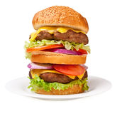 Grote dubbele cheeseburger stock afbeeldingen
