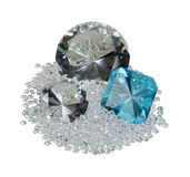 Grote en Kleine Diamanten en Gem Stock Afbeelding