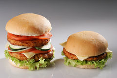 Grote en kleine hamburger stock foto's