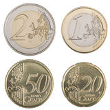 Grote Euro Muntstukken Royalty-vrije Stock Foto's