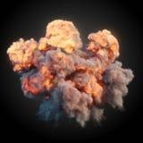 Grote explosie met het zwarte rook 3d teruggeven Stock Foto