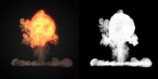 Grote explosie met zwarte rook in het donkere 3d teruggeven Royalty-vrije Stock Afbeeldingen