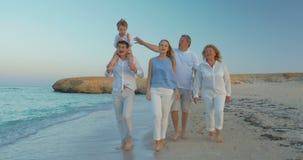 Grote Familie die door het Overzees lopen stock footage