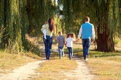 Grote familie die in het park lopen stock afbeelding