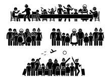 Grote familie en verwantenbijeenkomst, het verzamelen zich en activiteiten stock illustratie