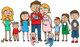 Grote familie met vele kinderen Stock Afbeelding