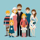 Grote familie met vele kinderen Man en vrouw in liefde, verhouding Royalty-vrije Stock Afbeelding