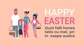 Grote Familie op Gelukkige Pasen-Affiche met Exemplaar Ruimteouders en Kinderen die de Slijtage Bunny Ears vieren van de de Lente Stock Foto's