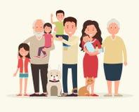 Grote familie Ouders en kinderen royalty-vrije illustratie
