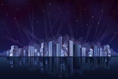 Grote fantastische stad bij nacht stock illustratie