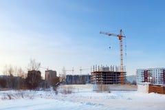 Grote flatgebouwen in aanbouw Stock Afbeelding