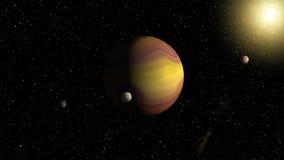 Grote gas reuzeplaneet met twee manen en een kleinere planeet die nabijgelegen ster cirkelen stock footage