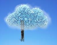 Grote Gegevens De blauwe karakters in wolk vormen met zakenman het beklimmen stock foto