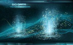 Grote gegevensvisualisatie Cyberspace landschap Gegevensstroom Stock Foto