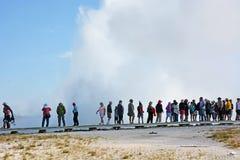 Grote geiser in het nationale park van Yellowstone Royalty-vrije Stock Foto's
