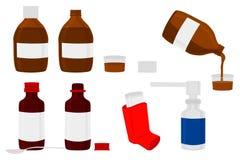 Grote gekleurde reeks verschillende types van spuitbussen in flesje stock illustratie