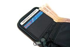 Grote geld en creditcards in portefeuille Stock Afbeeldingen