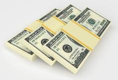 Grote geldstapel van dollars de V.S. Stock Foto
