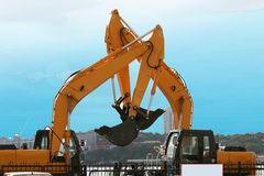 Grote gele bouwvoertuigen Royalty-vrije Stock Afbeelding