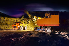 Grote gele mijnbouwvrachtwagen royalty-vrije stock afbeelding