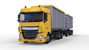 Grote gele vrachtwagen met afzonderlijke aanhangwagen, voor vervoer van landbouw en de bouw bulkmaterialen en producten 3D render Stock Afbeeldingen