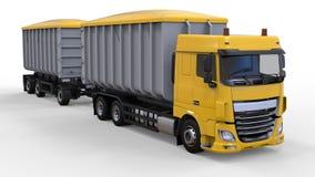 Grote gele vrachtwagen met afzonderlijke aanhangwagen, voor vervoer van landbouw en de bouw bulkmaterialen en producten 3D render Stock Foto's