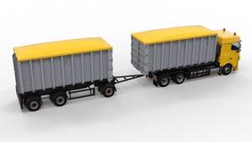Grote gele vrachtwagen met afzonderlijke aanhangwagen, voor vervoer van landbouw en de bouw bulkmaterialen en producten 3D render Royalty-vrije Stock Afbeelding
