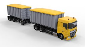 Grote gele vrachtwagen met afzonderlijke aanhangwagen, voor vervoer van landbouw en de bouw bulkmaterialen en producten 3D render Stock Fotografie