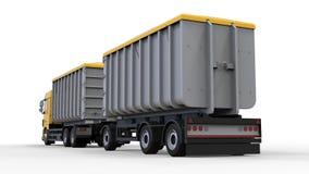 Grote gele vrachtwagen met afzonderlijke aanhangwagen, voor vervoer van landbouw en de bouw bulkmaterialen en producten 3D render Stock Illustratie