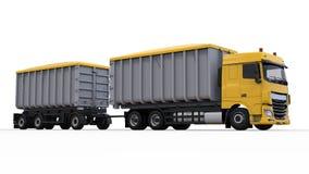 Grote gele vrachtwagen met afzonderlijke aanhangwagen, voor vervoer van landbouw en de bouw bulkmaterialen en producten 3D render Vector Illustratie