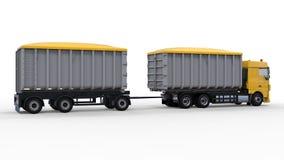 Grote gele vrachtwagen met afzonderlijke aanhangwagen, voor vervoer van landbouw en de bouw bulkmaterialen en producten 3D render Stock Foto