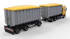Grote gele vrachtwagen met afzonderlijke aanhangwagen, voor vervoer van landbouw en de bouw bulkmaterialen en producten 3D render Stock Afbeelding
