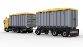 Grote gele vrachtwagen met afzonderlijke aanhangwagen, voor vervoer van landbouw en de bouw bulkmaterialen en producten 3D render Royalty-vrije Stock Foto